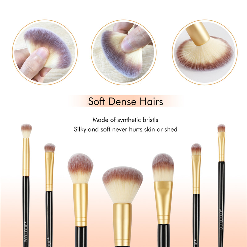 10PCS Makeup Brush Set, Premium Synthetic Fiber Make Up Brush Kit Brushes Tools with PU Leather Travel Makeup Bag