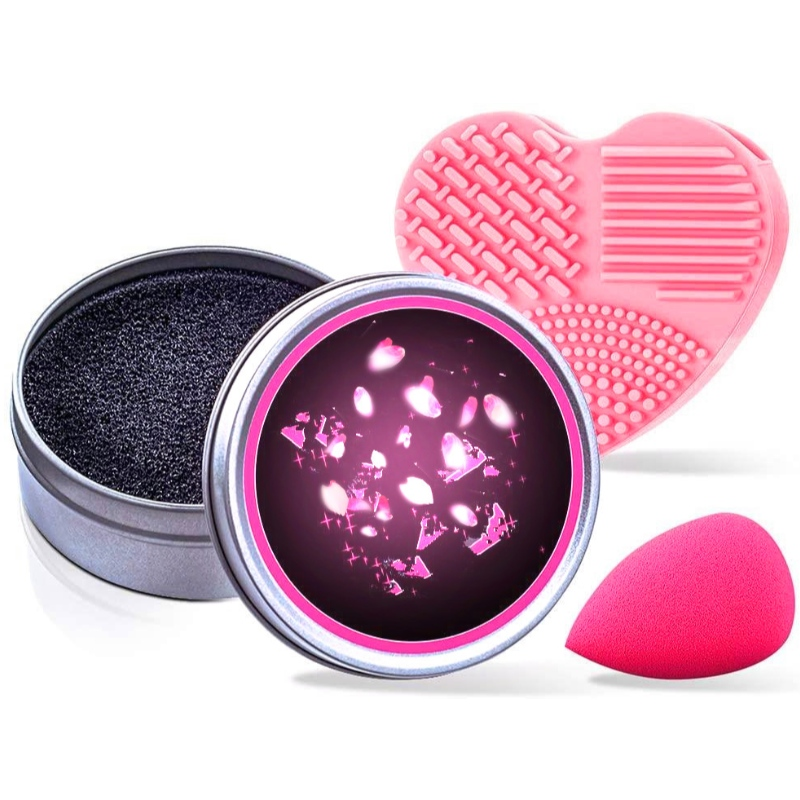 Makeup Cleaner Kit, Color Removal Cleaner Sponge, Silicone Glove and Makeup Sponge Blender, Perfect Partner for Your Traveling - Pack of 3