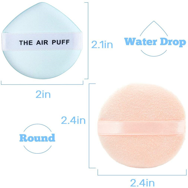 Velour Puff Makeup Powder Puffs Sponge with Air Cushion Puff Set Fluffy Powder Puff Round Sponge Cosmetic Water Drop Powder Puff Latex Free Foundation Sponge Face Puff for Dry & Wet Use